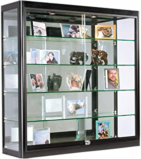 Displays2go Glass Retail Cabinet With LED Lighting, Four Tempered Glass  Shelves, Sliding Lockable Doors