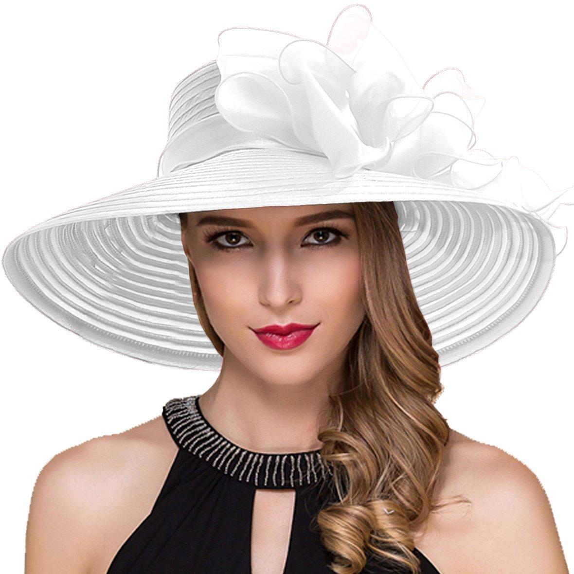 Women Kentucky Derby Church Dress Cloche Hat Fascinator Floral Bucket Hat S052 (S062-White)