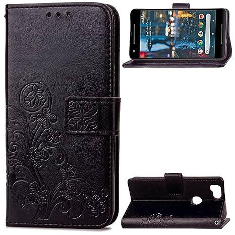 pinlu Funda para Google Pixel 2 Función de Plegado Flip Wallet Case Cover Carcasa Piel PU Billetera Soporte con Trébol de la Suerte Negro