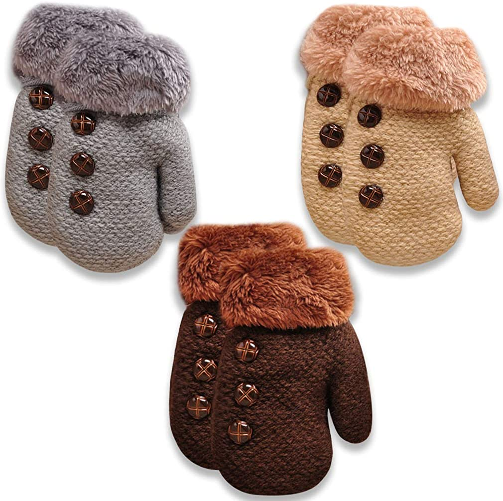 Toddler Winter Gloves & Mittens Baby Boys and Girls Fleece Lined Thicken Knit Gloves With String 3 Pack Sets