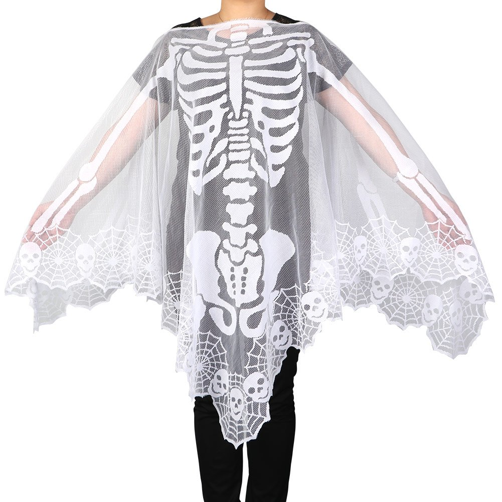 Aytai Skeleton Lace Poncho for Women's Halloween Day of The Dead Party Costume 1W-KLPJ-WHT-1@#333