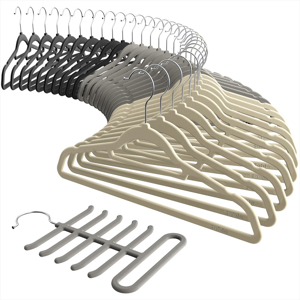 Sable Velvet Hangers, Ultra Thin Space Saving Suit Hangers Non Slip Heavy Duty, 360 Degree Swivel Hook - 30 Pack - Black, Beige, Grey Including a Tie Organizer