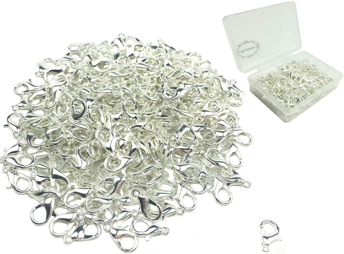 Nickel, 14mm Hyamass 200pcs Curved Lobster Clasps 814mm Silver Plated Lobster Claw Clasps DIY Jewelry Fastener Hook,Necklace DIY Fasteners