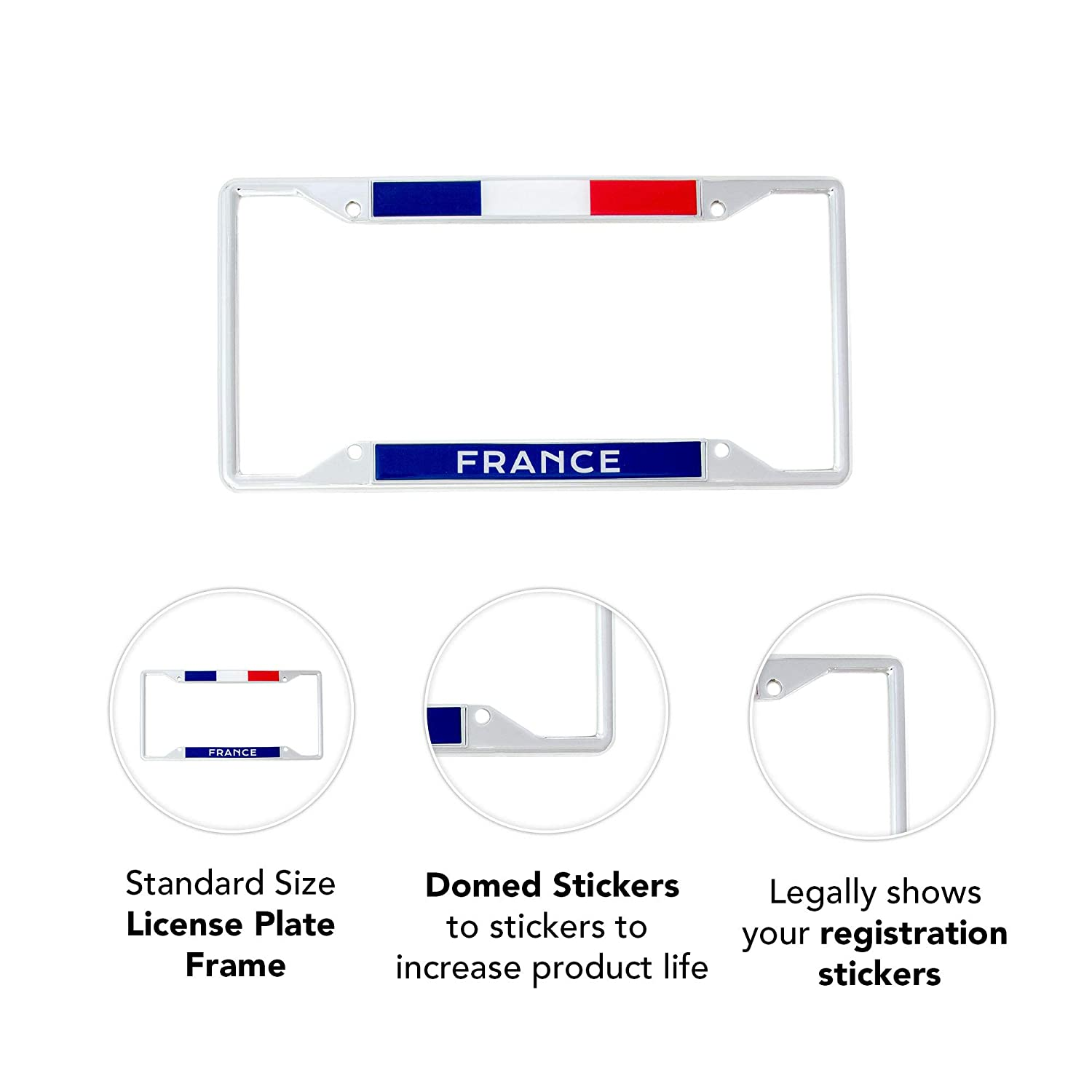Desert Cactus Country of France Flag License Plate Frame for Front Back of Car Vehicle Truck French