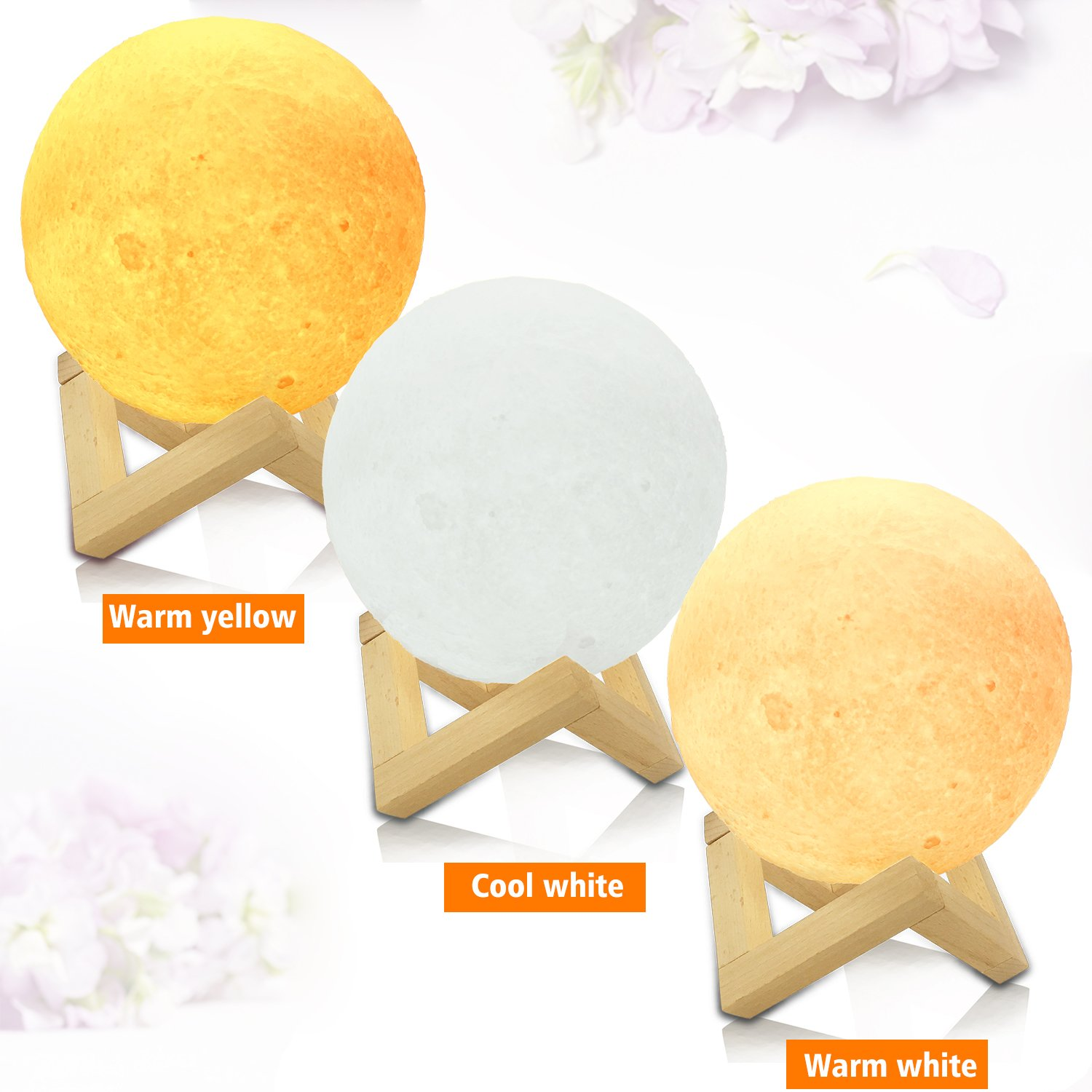 Replitel 5.9-inch 3D Printing Moon Lamp,Ideal Gifts for Girls, Rechargeable Night Lights, Warm White & Cool White&Warm Yellow,Dimmable Touch Control Brightness with USB Charging
