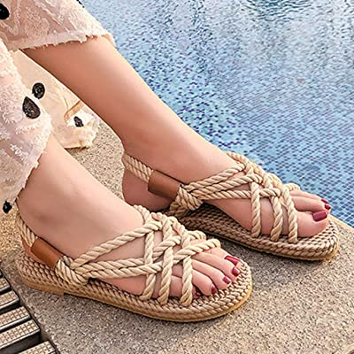 Women Sandals Flat Casual, Ladies Beach Shoes Summer Fashion Buckle Round Head Bandage Roman Style Sandals : Garden & Outdoor