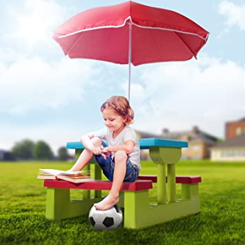 Infantastic - Ensemble de jardin pour enfant - table, 2 bancs et ...
