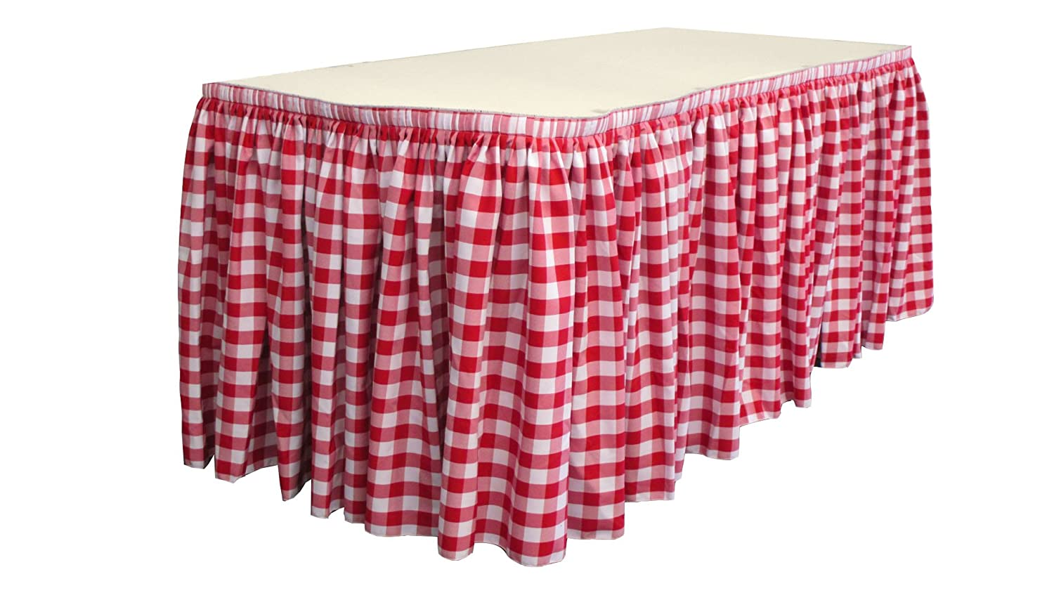 Light Yellow//White 14 by 29 LA Linen Poly Checkered Table Skirt with 10 Large Clips