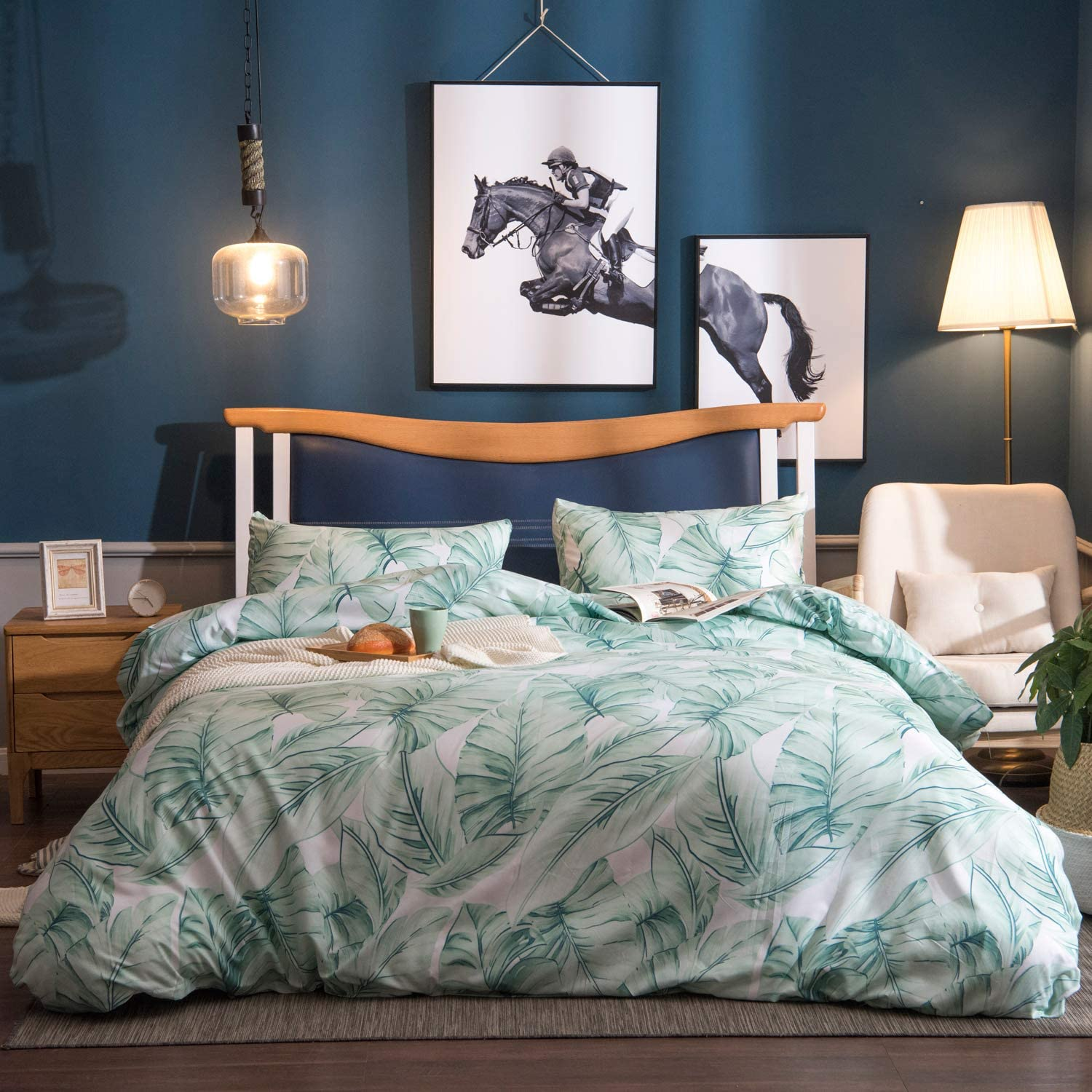 OSVINO Simple Style 100% Microfiber Botanical Pattern Bedding Quilt Comforter Duvet Cover Set with Pillow Shams, Green, Queen