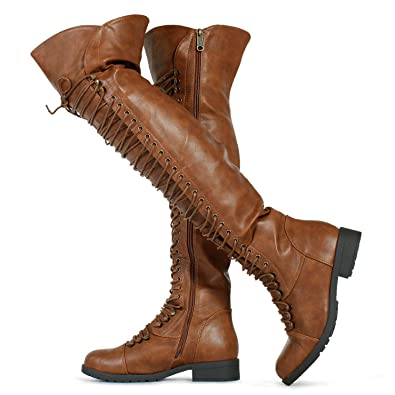 48af9e38de4 Amazon.com | RF ROOM OF FASHION Women's Lace Up Military Over The ...