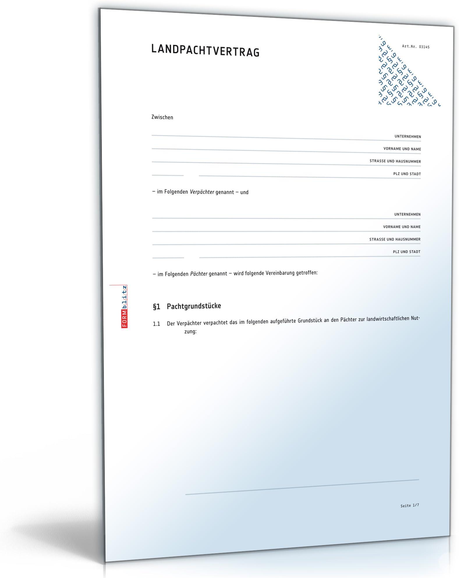 Landpachtvertrag Pachtvertrag Fur Landwirtschaftliche Nutzflachen Doc Download Amazon De Software