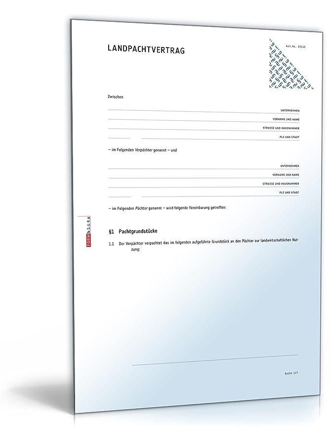 landpachtvertrag pachtvertrag fr landwirtschaftliche nutzflchen doc download amazonde software - Kundigung Pachtvertrag Muster