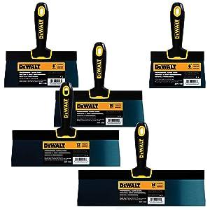 DEWALT Blue Steel Taping Knife 4-Pack   8/10/12/14-Inches + FREE 6-Inch BONUS   Soft Grip Handles  DXTT-3-162