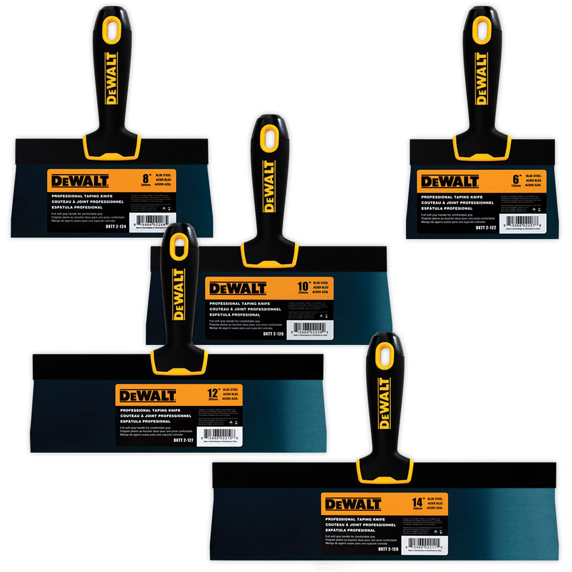 DEWALT Blue Steel Taping Knife 4-Pack | 8/10/12/14-Inches + FREE 6-Inch BONUS | Soft Grip Handles| DXTT-3-162