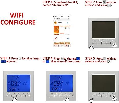 thermostat chaudiere gaz wifi thermostat intelligent wifi thermostat dambiance programmable telecommande regulateur de temperature programmateur hebdomadaire num/érique 3A
