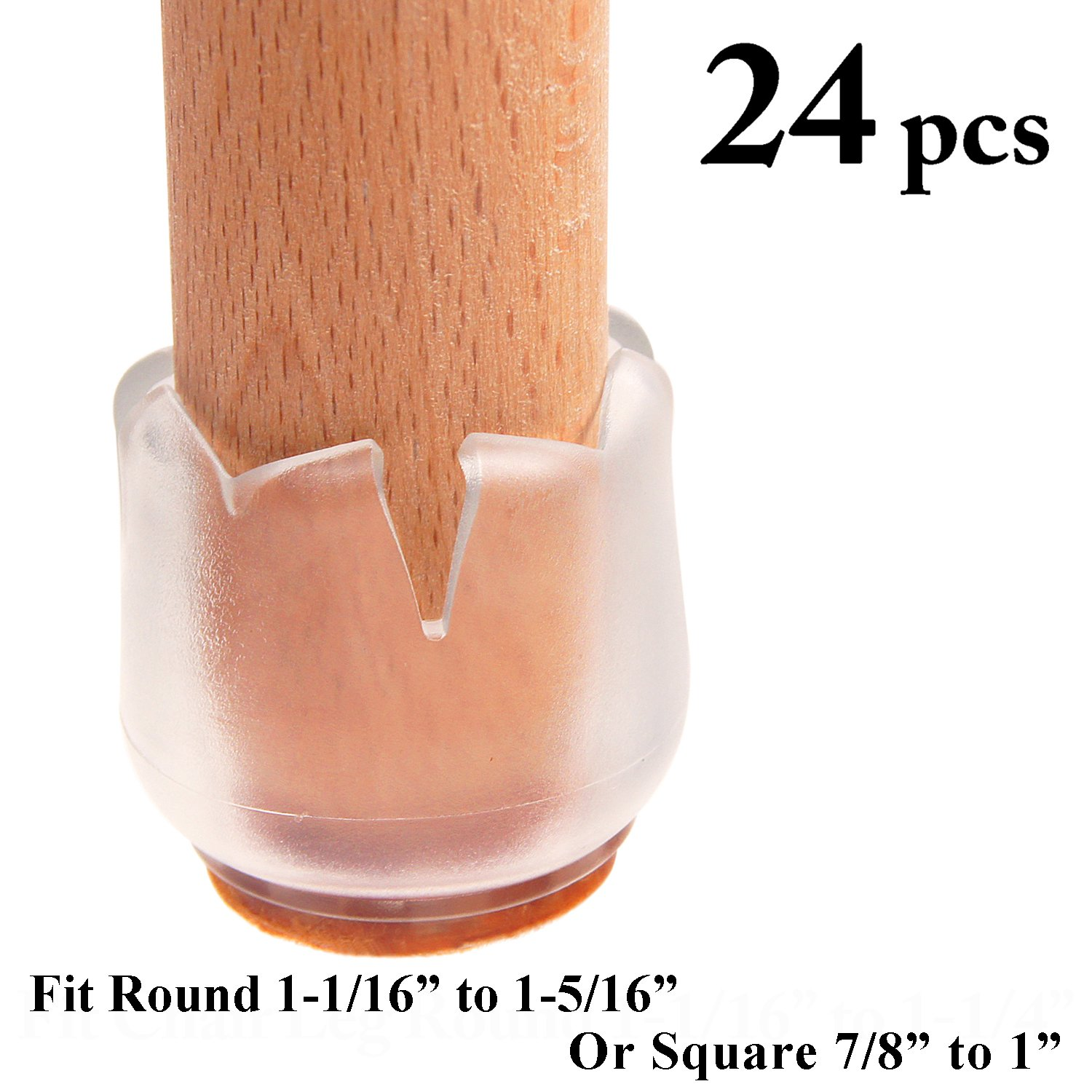LimBridge Chair Leg Wood Floor Protectors, Chair Feet Glides Furniture Carpet Saver, Silicone Caps with Felt Pads #4, ROUND 1-1/16'' to 1-1/4'' (2.7-3.1cm) and SQUARE 7/8'' to 1'' (2.2-2.6cm) 24 Pack