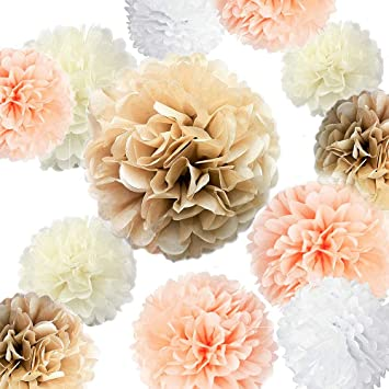 f/ür Hochzeit Babyparty 35,6 cm Party-Dekoration 25,4 cm bunte Blumen Papierblumen Kaptin Papier-Pompons 15,2 cm Champagner, Pfirsich, Elfenbein, Wei/ß Geburtstag 20,3 cm Dekorationen