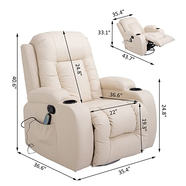 HOMCOM PU Leather Heated Vibrating Massage Recliner Chair with Remote