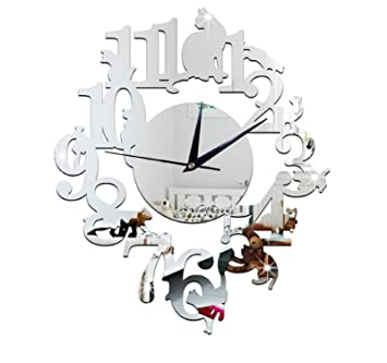 (Silver Color) NEW home decor wandklok creative wall watch reloj Acrylic Cats Lovery large