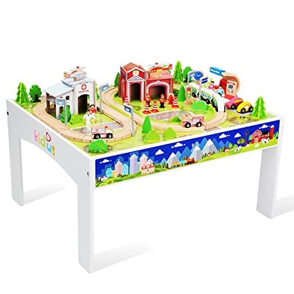WOOKA Wooden Train Set with Table 100 pcs Train and Track Table Toys for Toddler  sc 1 st  Amazon.com : wooden train set tables - pezcame.com