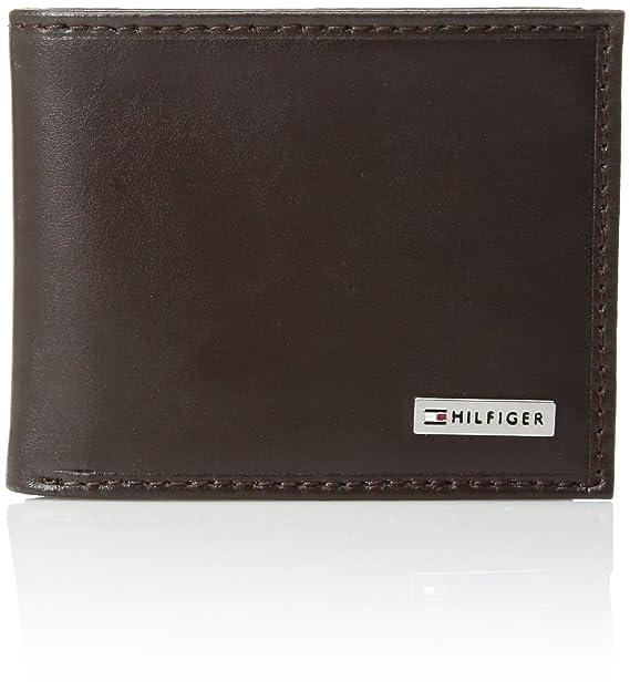 b277daca4 Tommy Hilfiger portafolios de piel para hombre, plegable con tres  bolsillos, híbrida, extra