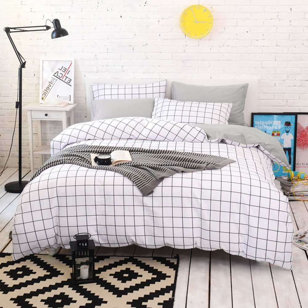 (Twin, Cupid) BuLuTu 3 Pieces Kids Duvet Cover Set Twin White/Grey 100 Percent Cotton,Plaid Gingham Print Single Bed Grid Bedding Sets Twin Comforter Cover Zipper Closure,Gifts for Boys,Girls,Men,Women,NO COMFORTER B079PQYVMJ ツイン|Cupid Cupid ツイン