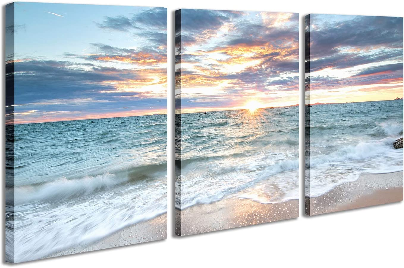 3 Panel Canvas Wall Painting Sunset Colorful Clouds Print Pictures Ocean Scenery Waves Beach Wall Art Modern and Framed Decor for Bedroom Living Room Office 12x16 inch