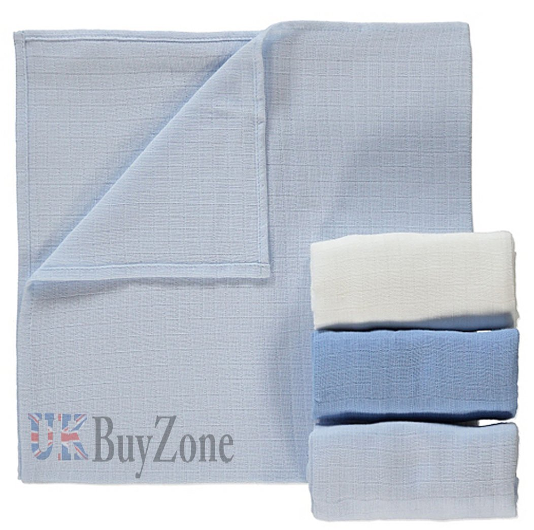 Baby Muslin Squares Cloth 100% Cotton Reusable Nappy Bibs Wipes Burp Cloths (1 Pack of 3, Blue) MTS