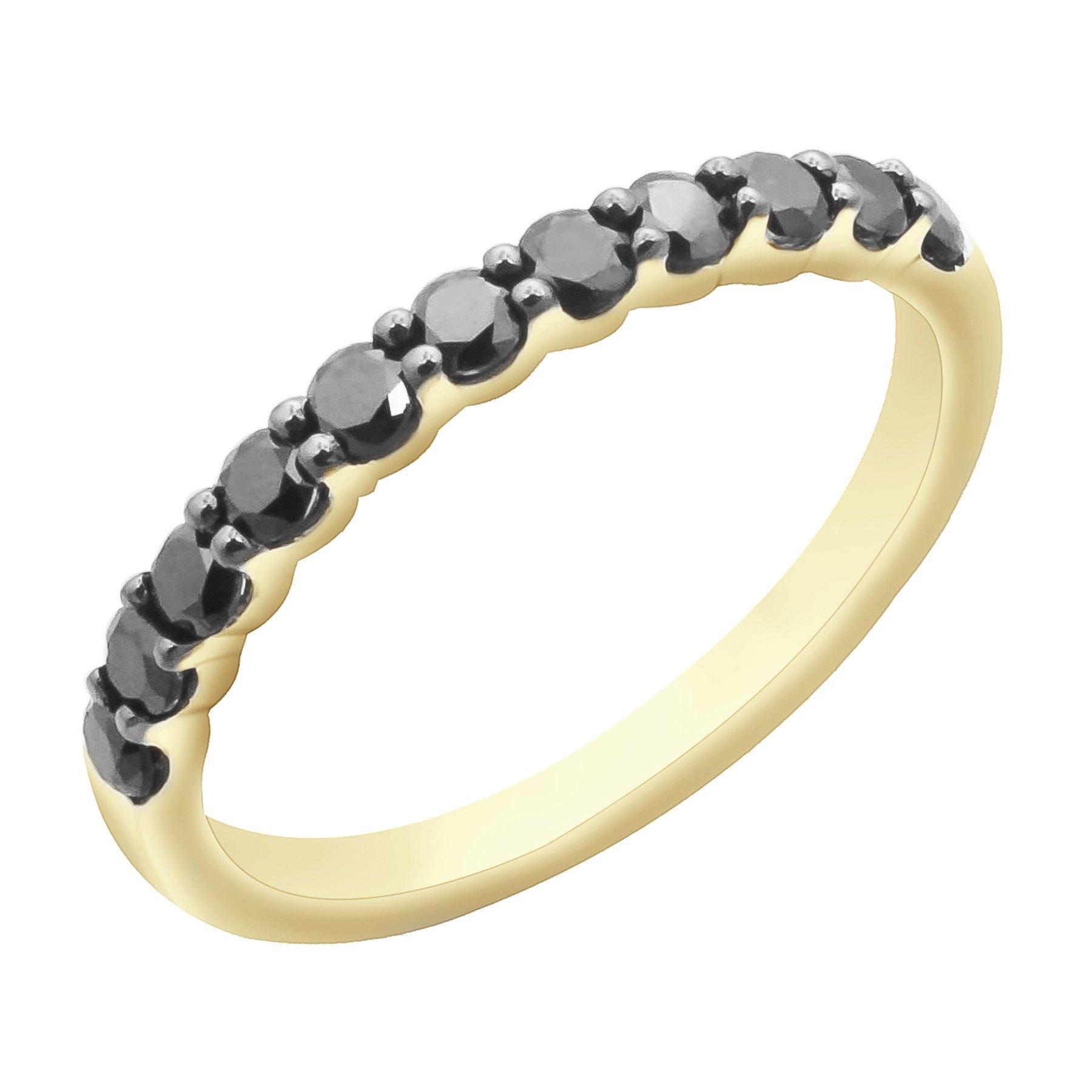 Prism Jewel 0.50 Carat Prong Set Round Black Diamond Wedding Band, 14k Yellow Gold, Size 8