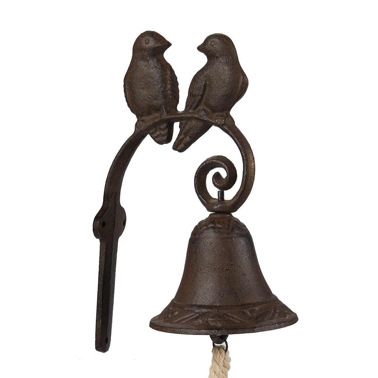 Iron Cast Door Bell - Rustic Birds Couple Door Chime - Wall Mounted Front Door Bell for Farmhouse, Garden, and Front Yard - Brown, 4.5 x 8.5 x 1.5 Inches