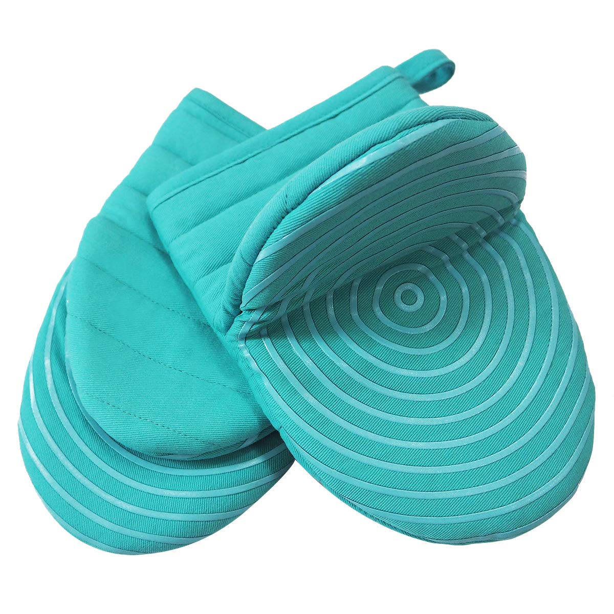 Heat Resistant Cotton Quilted Hot Mini Oven Mitts Kitchen set with Silicone Printing Non-slip Grip, Puppet Small Oven Gloves set of 2 for BBQ Cooking Baking, Grilling, Machine Washable Women Men Aqua