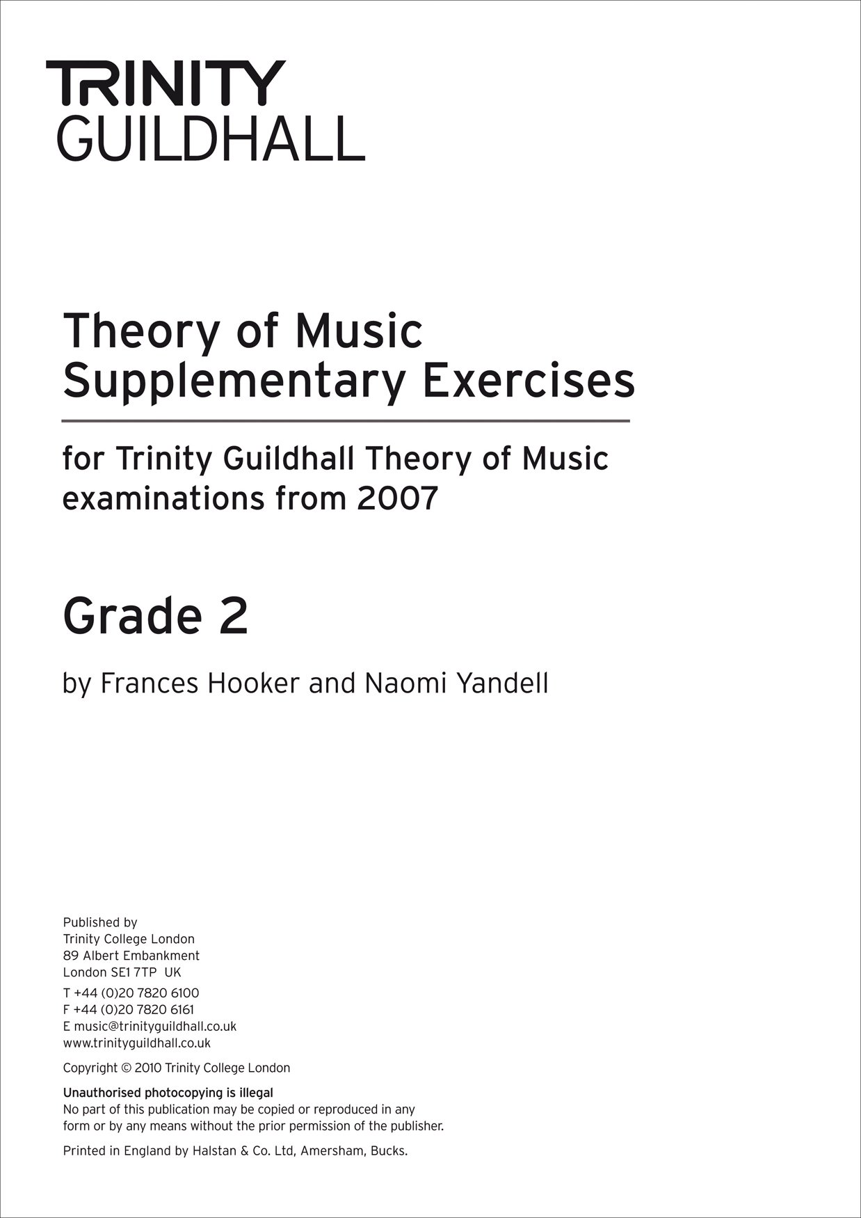 Theory of Music: Supplementary Practice Material Grade 2