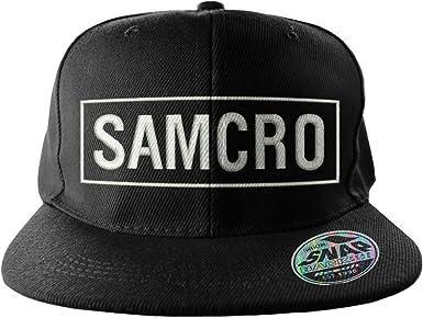 Negro Sons of Anarchy Mercanc/ía con Licencia Oficial Samcro Bordado Tama/ño Ajustable Snapback Gorra