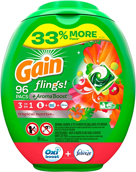 Gain flings! Liquid Laundry Detergent Pacs, Tropical Sunrise, 96 Count