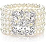 JaosWish 1920s Pearl Bracelet Great Gatsby Bangle Flapper Girl Accessories for Fancy Dress Costume Themed Party Wedding Zrbl9