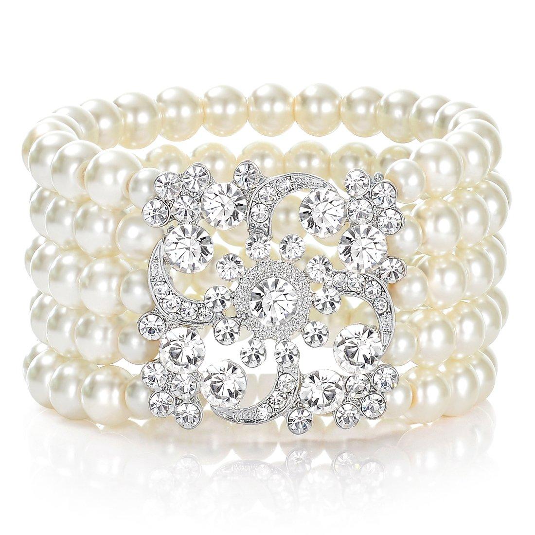 JaosWish Bracelet de Perles des années 1920 inspiré du Gatsby le Magnifique - Accessoires pour déguisement, pour mariage ou fête à thème, pour Femmes ZSZ80001