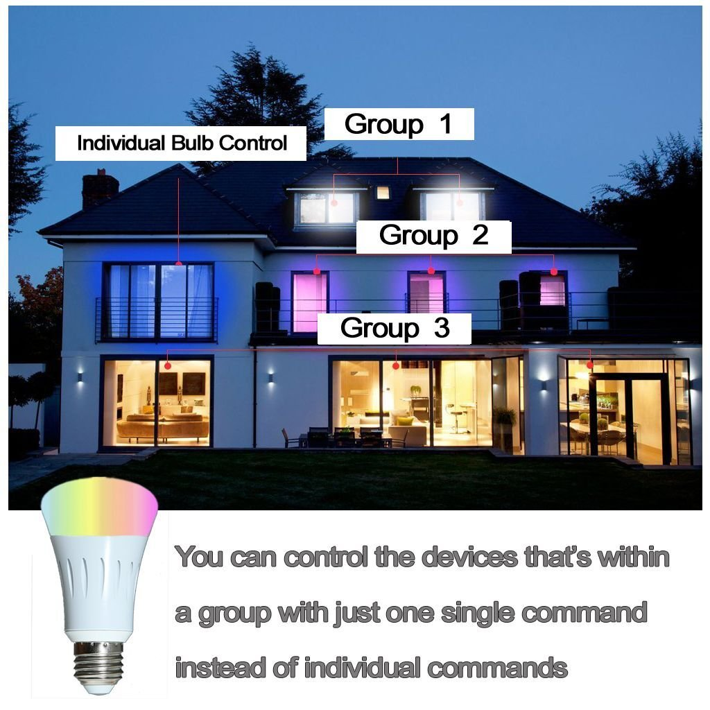 Smart Light Bulb,Works with Alexa,Dimmable Multicolored Color Changing Lights,Smartphone Free APP Control,7W New Version (White) by Foeska (Image #7)
