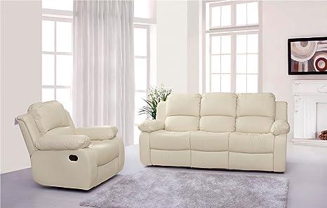 Lovesofas Valencia 3 + 1 Cuero reclinable sofá Suite - Crema ...