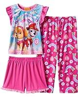 PAW PATROL SKYE And MARSHALL Girl's 2T Pink Rainbow 3-Piece Pajama Set