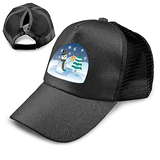 82194225a Image Unavailable. Image not available for. Color  Xmas Snowman and  Christmas Tree Adjustable Ponytail Messy Buns Trucker Baseball Cap Black