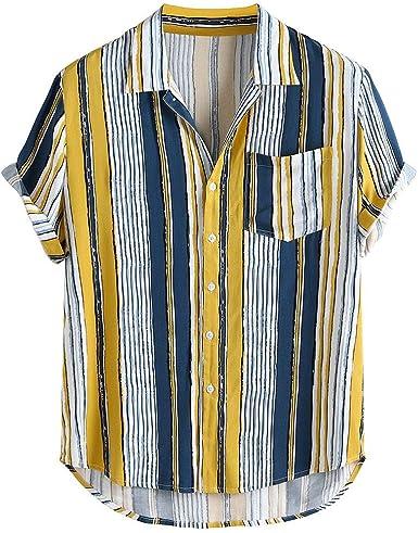Winkey Camisa para Hombre, Estilo Vintage, de Manga Corta, con Botones Hawaianos, con Solapa, con Bolsillo, para Hombre: Amazon.es: Ropa y accesorios
