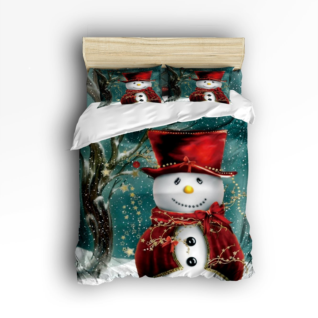 Family Decor Snowman Winter Christmas Digital Print Home Comforter Cover Bedding Sets Duvet Cover Sets Bedspread for Adult Kids,Flat Sheet, Shams Set 4Pieces,4 Pcs Queen Size for Kids Teenage Teens
