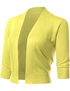 26ff07b51e ARC Studio Women s Classic 3 4 Sleeve Open Front Cropped Cardigans (S-XL