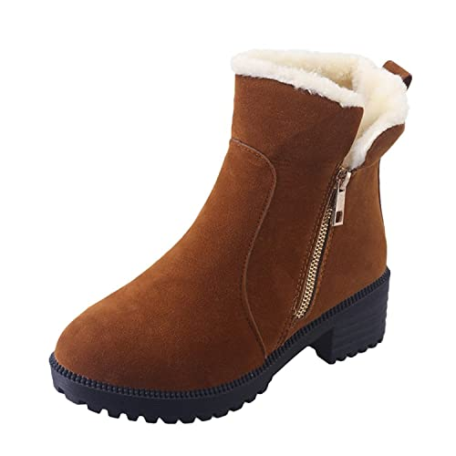 Minetom Mujer Invierno Botas de Nieve Moda Cremallera Talón Plano Botines Casual Calentar Forrado Zapatos: Amazon.es: Zapatos y complementos
