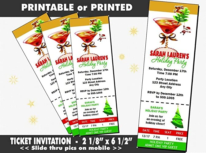 Amazon Com Holiday Cocktail Party Ticket Invitation Printable Or Printed Option Handmade