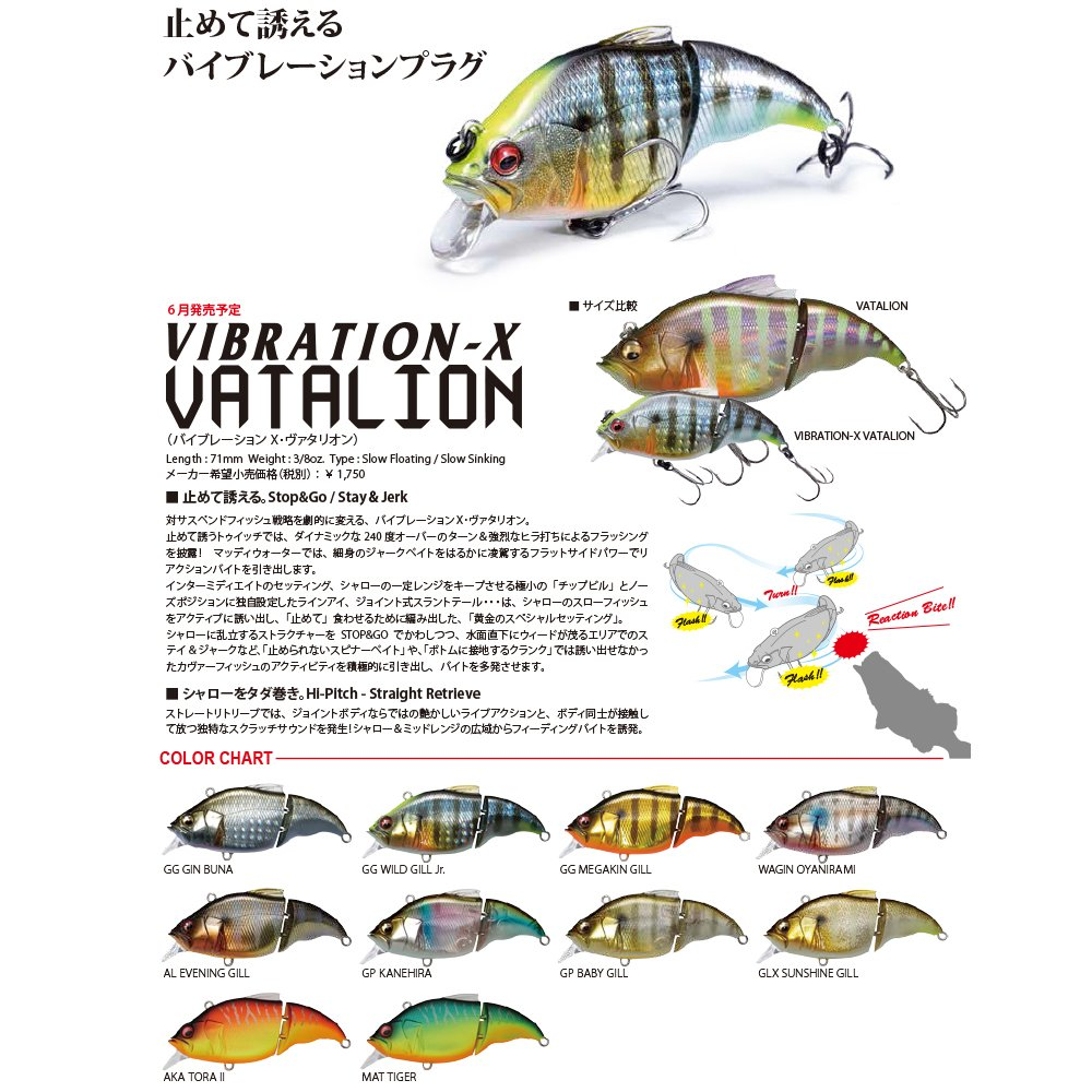 Vatalion Vibration X SF Slow Floating Lure GG Mega Kin Gill Megabass 4432