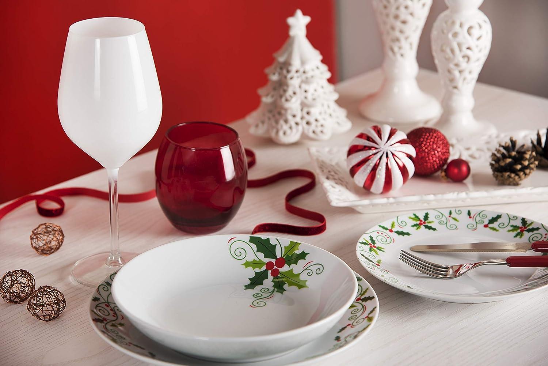 Excelsa Christmas Holly 18-Piece Dinner Set Porcelain