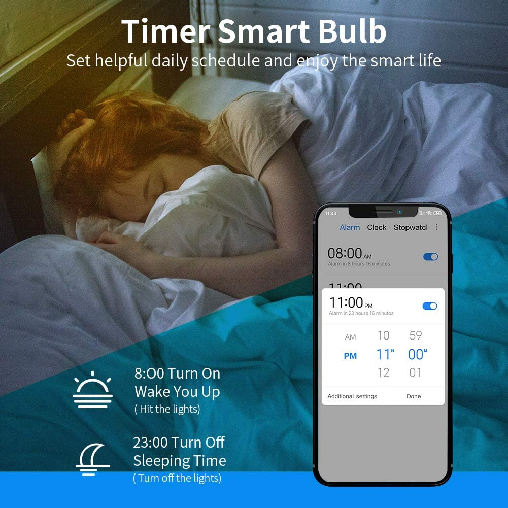 LangPlus Intelligente Ampoule WiFi E14 /à Bougie Smart Ampoule RGB 4W=40W Petit Culot Multicolore Compatible avec Alexa Google Home Contr/ôle Vocal T/él/éphone,6 PCS