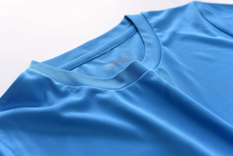 Eono Essentials lisa Camiseta de ni/ño con cuello redondo para hacer deporte
