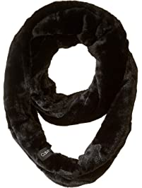 Calvin Klein womens Solid Faux Fur Infinity Scarf Headwrap